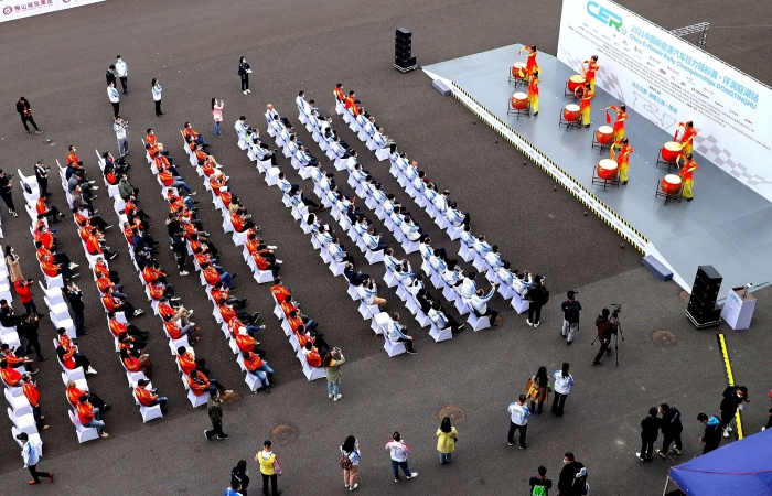 2021年中国新能源汽车拉力锦标赛开幕式上的女子鼓舞