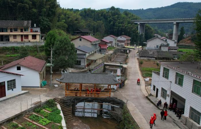 湖南安化县沙田溪村第六村航拍一美丽的新农村